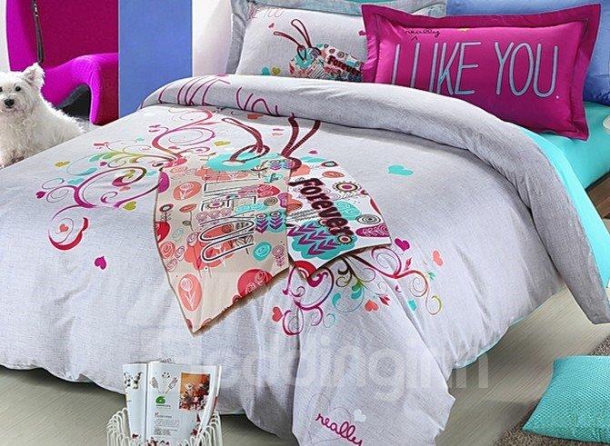 Love You Forever Flower Print 4-Piece Duvet Cover Sets