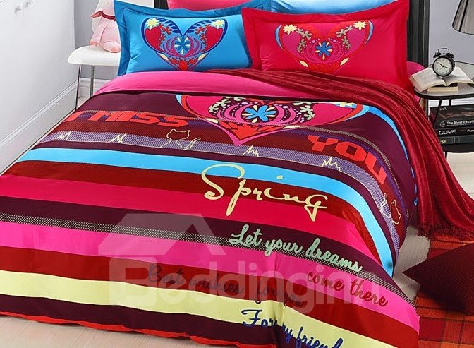 Colorful Stripe and Flower Heart Print 4-Piece Duvet Cover Sets