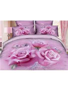 Charming Pink Roses Print 4-Piece Duvet Cover Sets