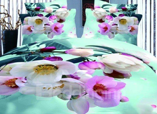 Pink Blooming Crabapples Print 4-Piece Duvet Cover Sets