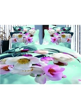 Pink Blooming Crabapples Print 4-Piece Duvet Cover Sets