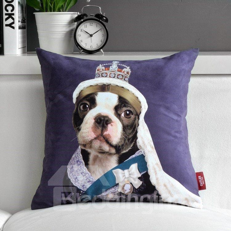 Cute Star Cartoon Dog Purple Throw Pillow