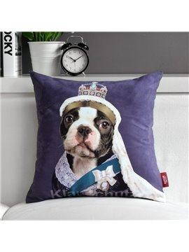 Cute Star Cartoon Dog Purple Throw Pillow
