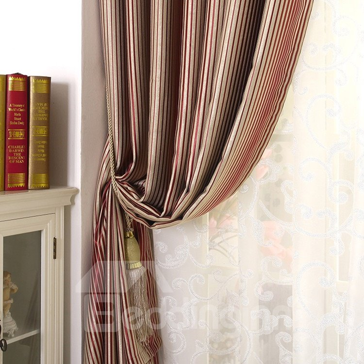 Amazing High-end Red Stripes Grommet Top Two-panel Custom Curtains