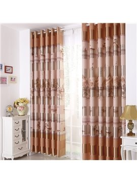 Amazing Light Orange Beautiful Patterns Grommet Top Two-panel Custom Curtains