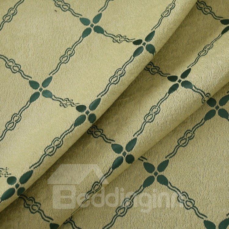 Elegant Luxurious Green Beautiful Patterns Grommet Top Two-piece Custom Curtains