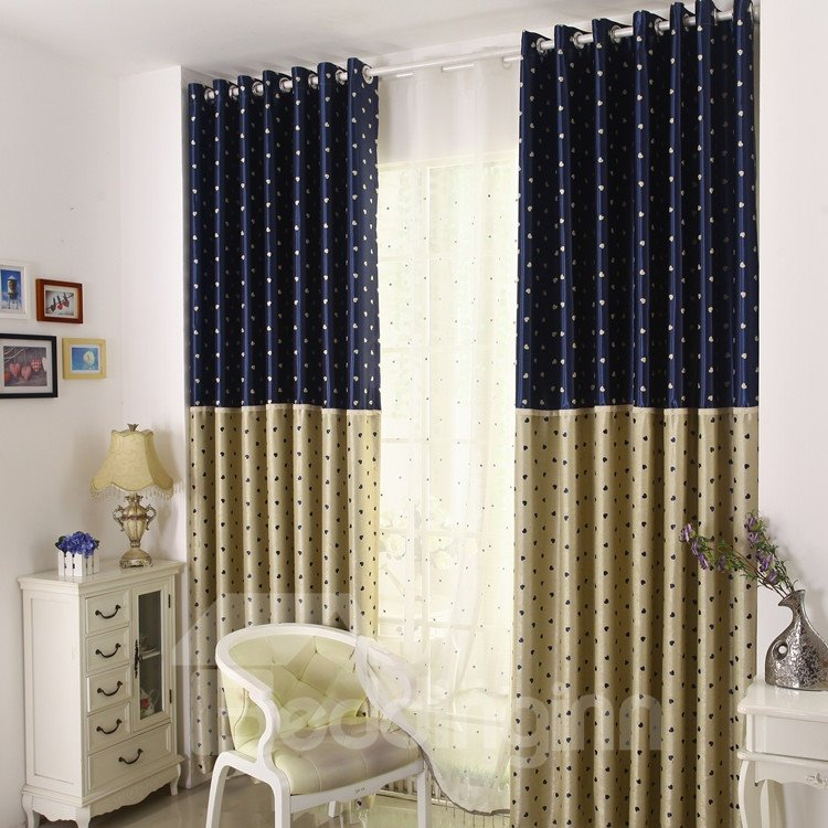 Pretty Heart-Shaped Pattern Grommet Top Two Pieces Custom Curtain