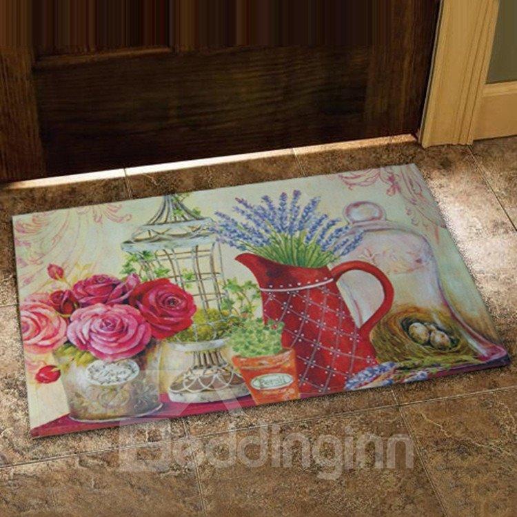 European Style Elegant Flower Vases Design Doormat
