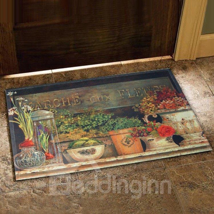 Elegant Country Style Flower Vase Prints Doormat