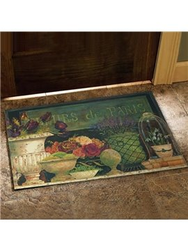European Country Style Flower Vase Prints Doormat