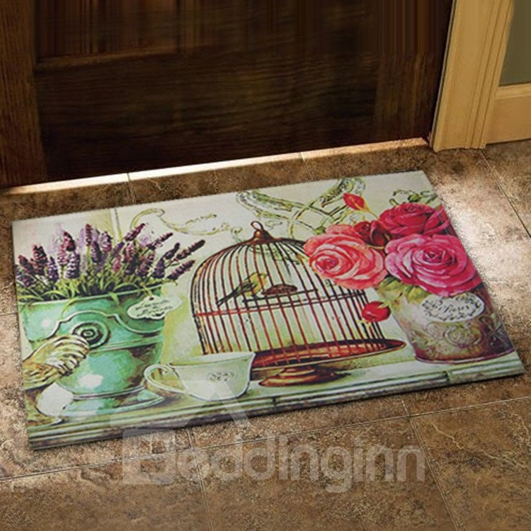 Country Style Flower Vase and Bird Cage Prints Doormat