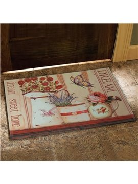 European Style Fancy Flower Vase and Butterfly Print Doormat