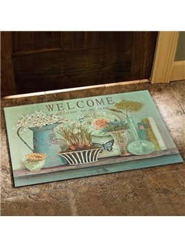 New Arrival Country Style Fancy Flower Vase Print Doormat
