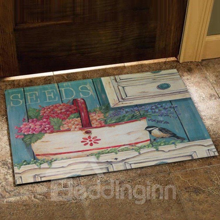 European Style Beautiful Flower Basket and Bird Print Doormat