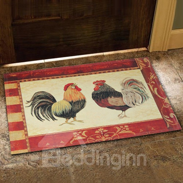 New Arrival Country Style Beautiful Cock Prints Doormat