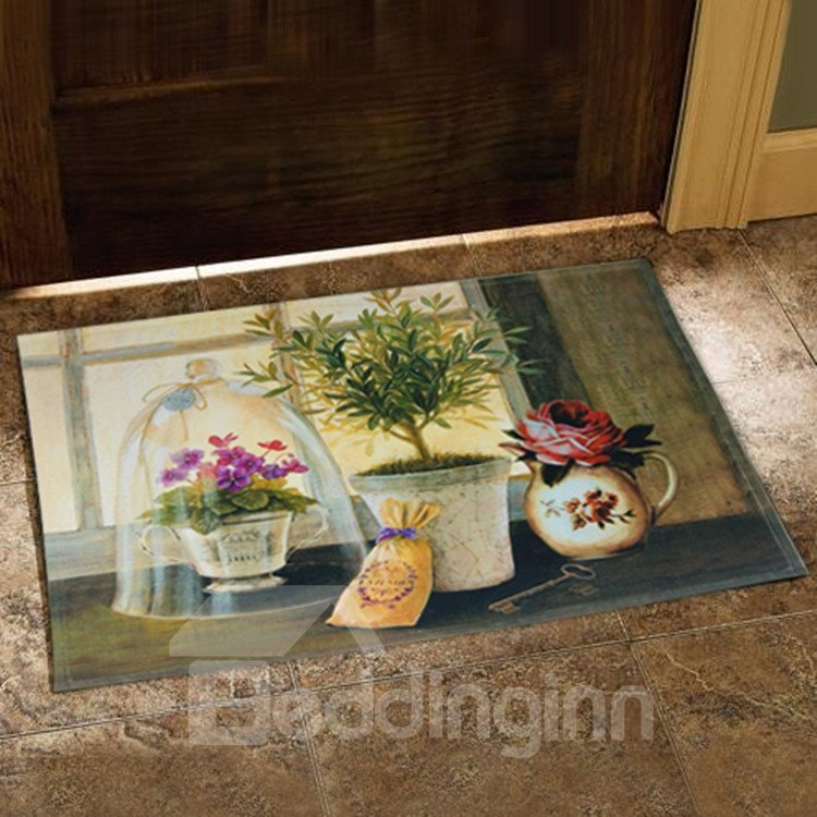 New Arrival Country Style Fancy Flower Vases Print Doormat