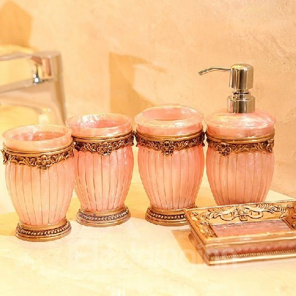 European style resin five pieces bathroom accessories for Peach bathroom set