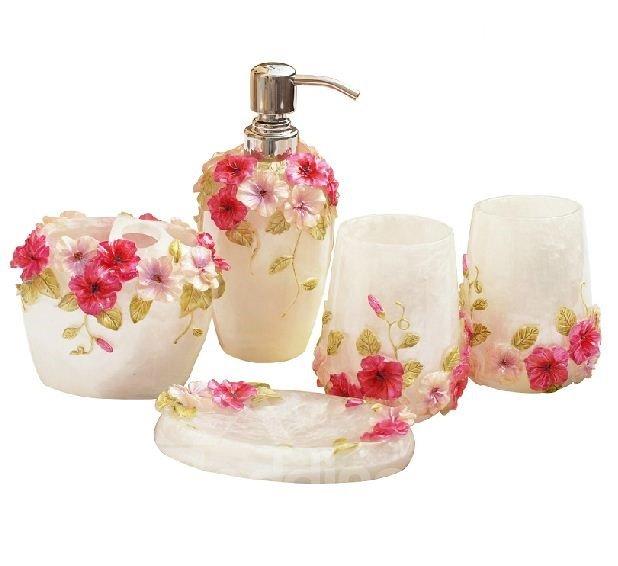 Romantic Rose Pattern Resin Five Pieces Bathroom Accessories