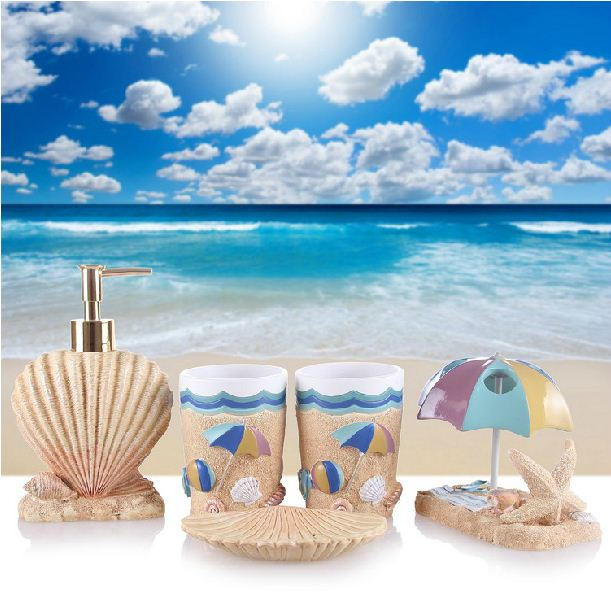 Beach Style Starfish and Parasol Shape Five Pieces Resin Bathroom Accessories