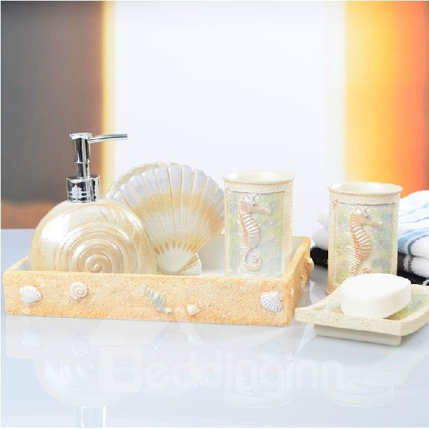 High quality creative mediterrenean style five pieces for Good quality bathroom accessories