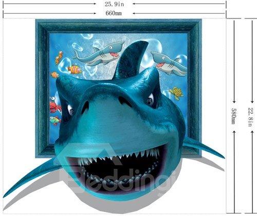 Gorgeous 3D Shark Pattern Home Decorative Wall Sticker