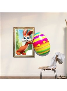 Amazing Creative 3D Rabbit Pushing an Egg Design Wall Sticker