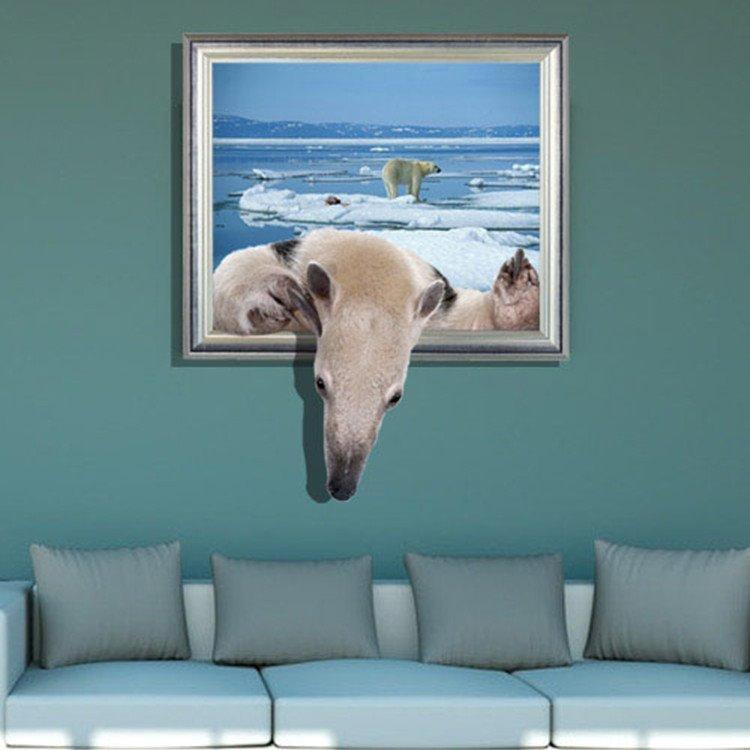 Elegant Creative 3D Polar Bear Design Wall Sticker