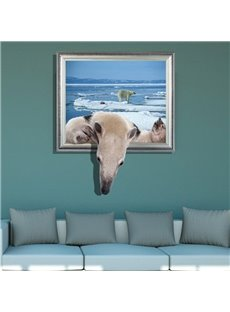 Elegant Creative 3D Polar Bear Design Wall Sticker