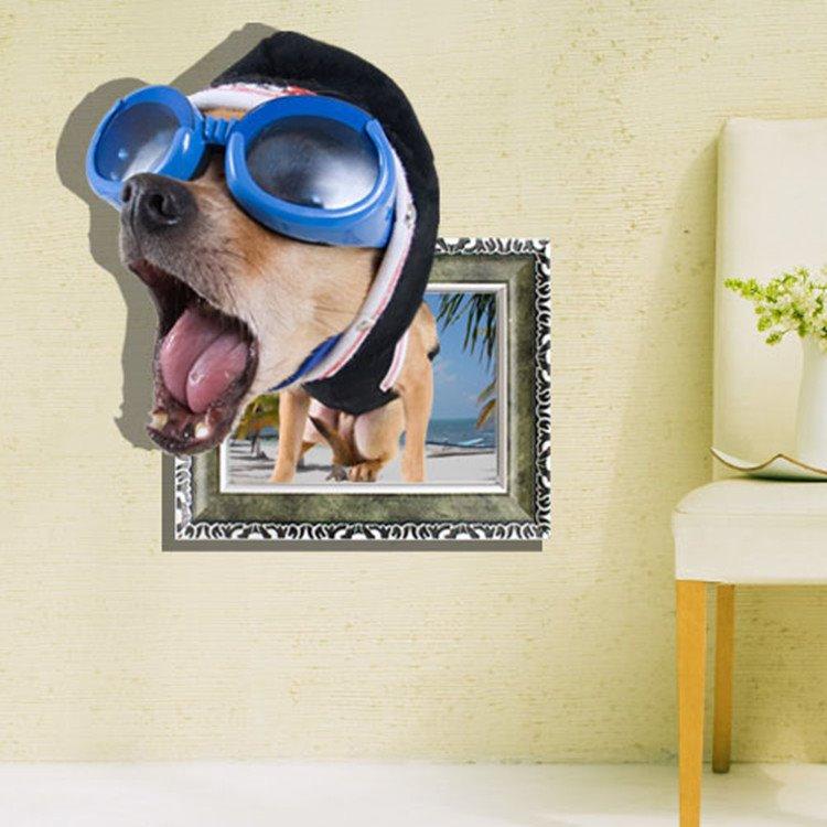 Elegant Creative 3D Funny Dog Design Wall Sticker