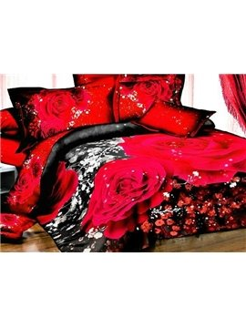 Luxury Red Roses Print 4-Piece Polyester 3D Duvet Cover Sets