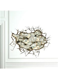 Gorgeous Creative 3D Money Design Wall Sticker