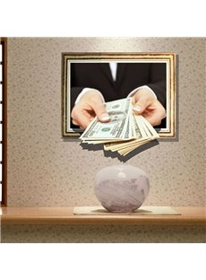 Gorgeous Creative Dollar in Hand Design 3D Wall Sticker