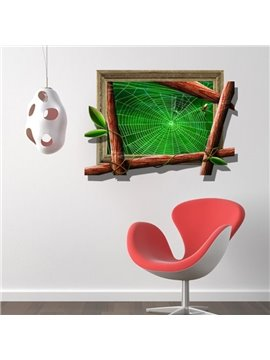 Stunning Creative 3D Spider Web Design Wall Sticker