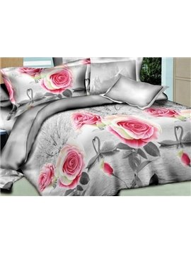 Pink Roses and White Swan Print 4-Piece Polyester 3D Duvet Cover Sets