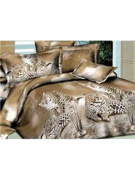 Cheetah Lying on Land Print 4-Piece Polyester 3D Duvet Cover Sets