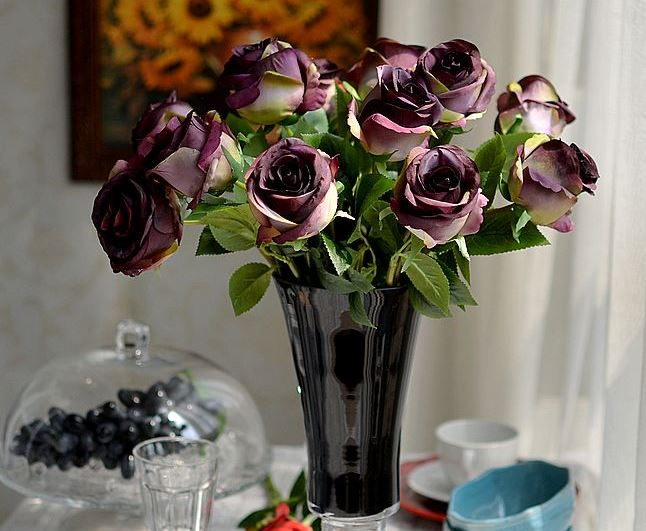 Hot Selling 8-Piece Pretty Rose Decorative Artificial Flowers