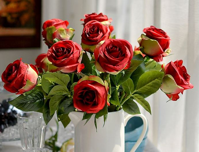 Hot Selling 15-Piece Pretty Rose Decorative Artificial Flowers
