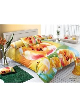 Fragrant Golden Tulip Print 4-Piece Cotton Duvet Cover Sets
