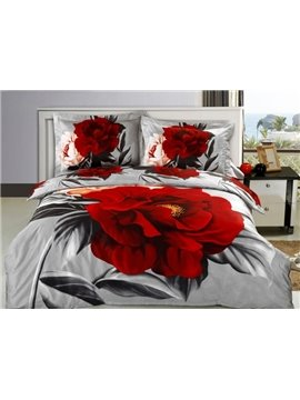 Elegant Red Flower Print 4-Piece Cotton 3D Duvet Cover Sets
