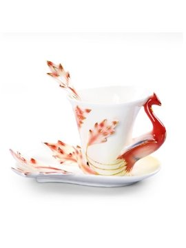 Alluring Creative Pheonix Design Ceramic Enamel Coffee Mug Sets