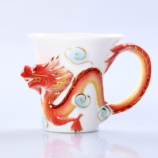 Fancy Creative Dragon Ceramic Enamel Coffee Cup Sets