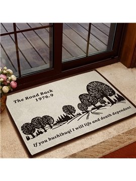 European Style Solid Trees Pattern Non-slip Doormat