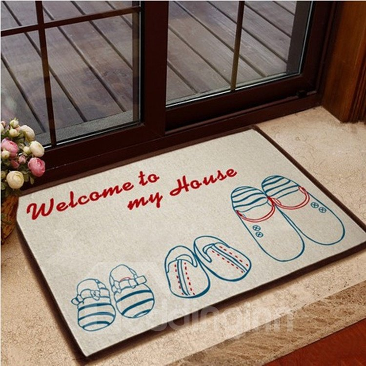 Simple Style Two-tone Shoes Pattern Non-slip Doormat
