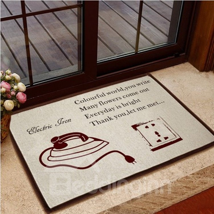 Retro Iron and Power Socket Pattern Non-slip Doormat