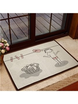 Gorgeous Pretty Girl Hanging Clothes Pattern Non-slip Doormat