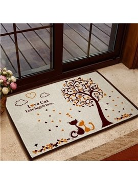 Alluring Love Cats and Tree Pattern Non-slip Doormat