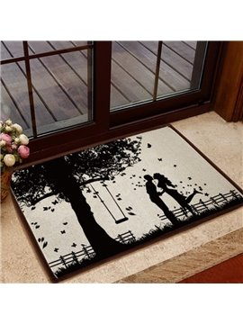 Glamorous Romantic Lovers under the Tree Pattern Non-slip Doormat