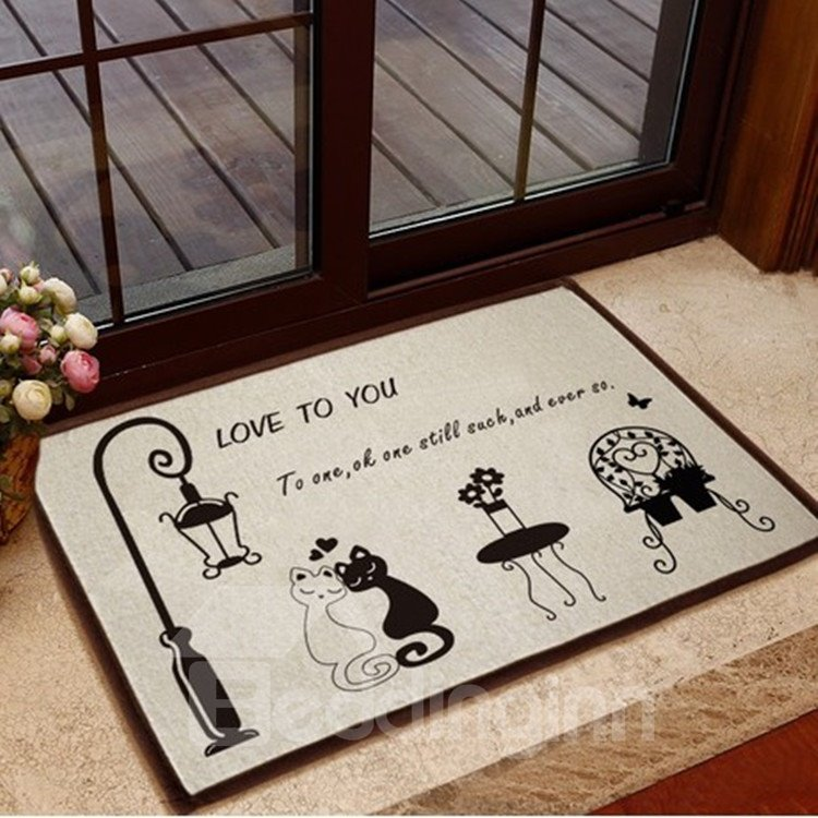 Glamorous Cat and Street Lamp Pattern Non-slip Doormat