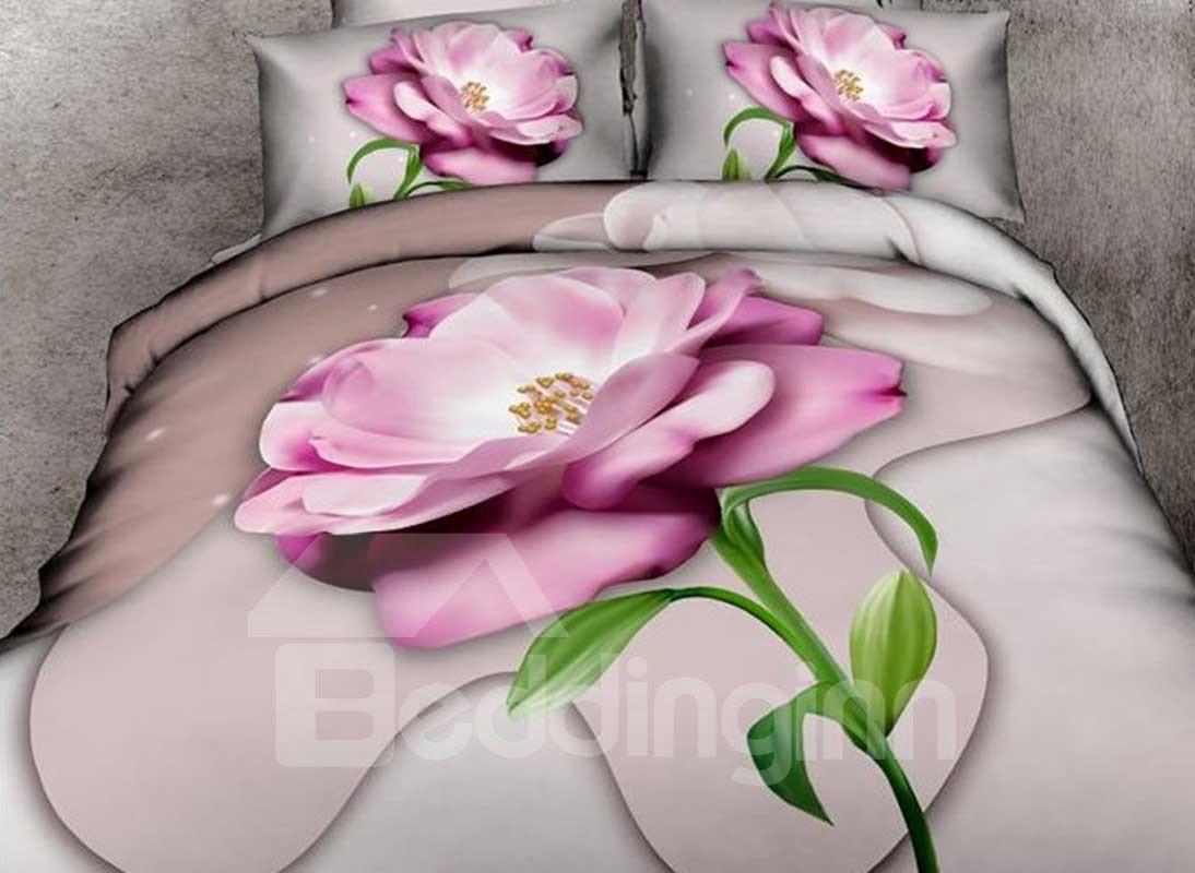 Amazing Vivid Pink Flower Print 4-Piece 3D Duvet Cover Sets