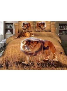 Attractive Lion on Grass Land Print 4-Piece 3D Duvet Cover Sets